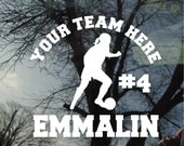 Vinyl Car Window Decal 5h x 6w - Soccer Female #5 Personalized Soccer Team Decal with Team Name and player's name sports