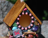 key chain birdhouse Whimsical with pinks, silver Love charms and cats done in mosaic stones