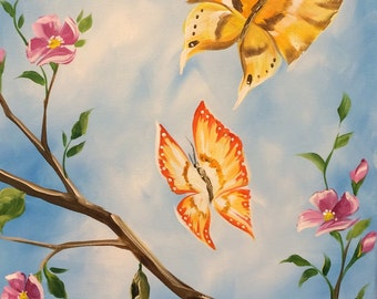 Butterflies on Blue, by Renee MacMurray