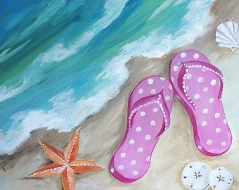 Pink flip flops, by Renee MacMurray