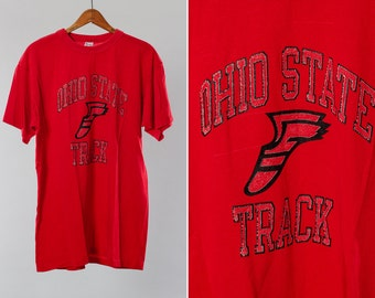 Sale Vintage Ohio State Track Jersey | Red 50/50 Poly Cotton Blend OSU Buckeyes Champion College Athletic Tee Distressed Print USA 15FF