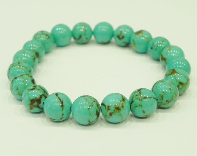 Dyed turquoise stretch gemstone bracelet| Blue turquoise| Green turquoise| Choice of colour| Choice of length| Men| Women| Unisex| Stackable
