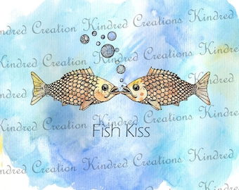 Fish Kiss Printable Artwork 300 dpi Digital Image Download Transfer For T Shirts Totes Napkins Personal and Commercial Use