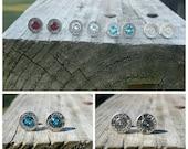 9mm Bullet Earrings Studs Swarovski Crystal Birthstone .38 Special