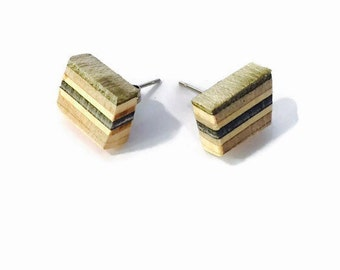 Recycled Skateboard Ash and Maple Wood Stud Earrings