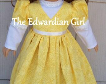 Elizabeth Bennet inspired Regency dress for 18 inch soft bodied dolls. Fits Springfield, American Girl, Gotz Made in USA