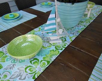 Reversible Table Runner - Tropical Flower Table Runner - Striped Table Runner - Teal, Aqua, Green, Lime Green, Turquoise