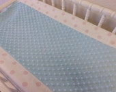 READY TO SHIP --White and Pink Polka Dot Changing Pad Cover with Minky Center-