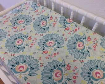 Changing Pad Cover- READY TO SHIP -- Floral Changing Pad Cover--