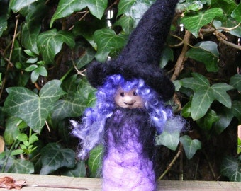 Pocket Witch - Needle Felted with lavender and black dress, Halloween figure, decoration, trick or treat gift