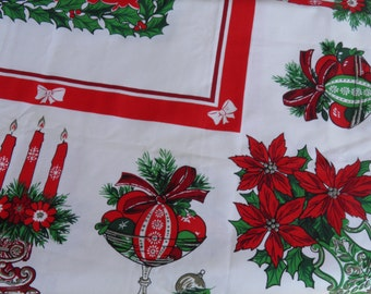 1960's Christmas Vintage Table Cloth Linen - 51 By 69 Inches - Red, Green, White Poinsettia Flowers and Candles  - Vintage