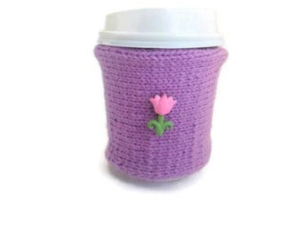 Purple Coffee Cozy with Tulip