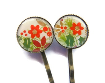 Christmas Flower Hair Clips Bobby Pins