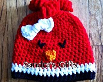 Crochet cardinal hat