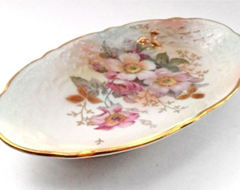 Vintage Wild Rose Ceramic Oval Plate Schumann Arzberg Cream Pink Pastel Fine China Dish Serving Porcelain Gold Gilded Gilt Candy Nut Tray