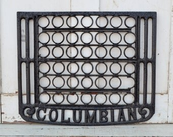 Cast Iron Columbian Stove Oven Rack Antique Black Cook Stove Hardware Wall Hanging Upcycle Restore Repurpose