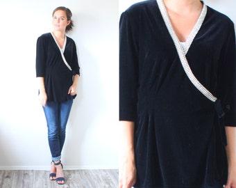 Vintage Boho long sleeve velvet blouse // crystal black top // wrap blouse // fancy top // velvet blouse // crystal beaded blouse top