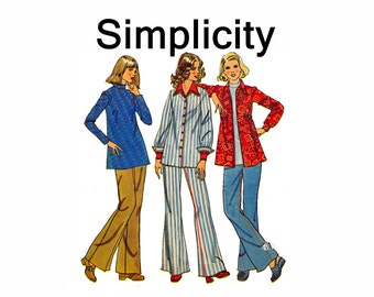 70s Maternity Top Shirt Jacket and Wide-Leg pants Jeans Style UNCUT Sewing Pattern Simplicity 6634 Size 12 Bust 34