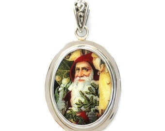 Broken China Jewelry Victorian Christmas Santa Close Up with Evergreen Sterling Oval Pendant