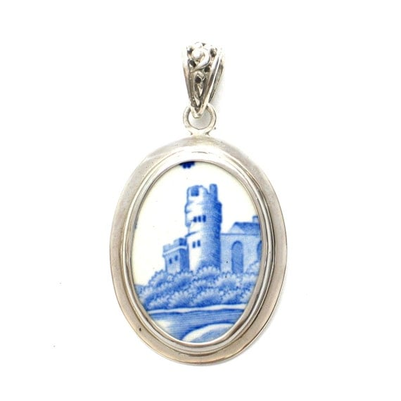Broken China Jewelry Spode Blue Italian Castle Tower Sterling Oval Pendant
