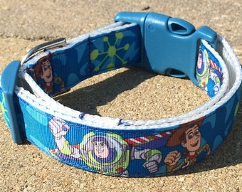Toy Story Buzz Woody Ribbon Dog Collar Size M or L