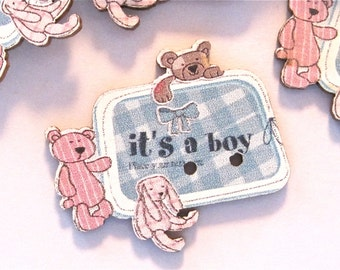Its a Boy Wood Buttons Lot of 10