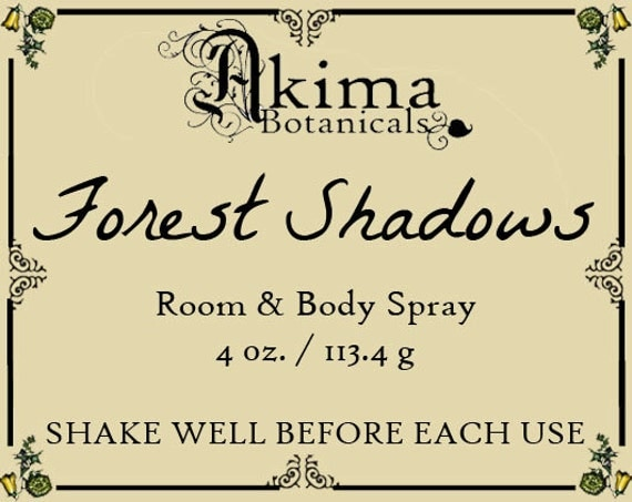 FOREST SHADOWS Room & Body Spray 4oz ~ cedar, ylang ylang, dragon's blood, fresh herbs ~ Free from alcohol, parabens, preservatives ~ gift