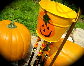 Wind Chime Harvest Pumpkin Halloween Thanksgiving Handmade OOAK 2015
