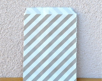 CLEARANCE SALE 25 Grey Stripe Paper Favor Bags -Gray Candy Buffet, Party Favor, Wedding Favor - 5 x7
