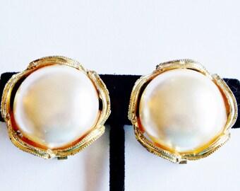 Earrings Faux Pearl Gold Tone Clipon Vintage Wedding Jewelry Jewellery Gift Guide Women