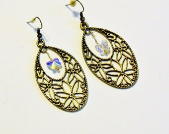 Handmade Earrings Butterfly Crystals Gold Tone Gift for Her Assemblage Repurposed