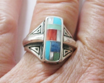 Carolyn Pollack Relios Ring Multi Gemstone Sterling Silver Retired QVC Size 7 Free US Shipping