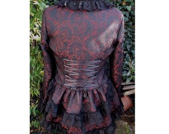 steampunk jacket with bustle in burgundy and black jacquard with black lace & corset lacing UK seller