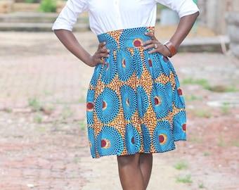 NABU~QUISTT Skyblue Skirt African Ankara Skirt; African clothing,  African Skirt; African high waist Skirt, African knee length skirt