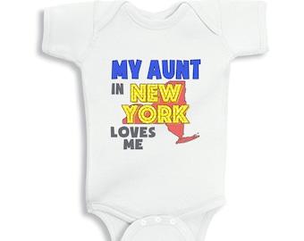 My Aunt in New York Loves me baby Boy bodysuit or Kids Shirt