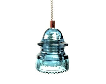 Dark Blue Insulator Light Rich blue glass lighting electrical Insulator light Rare Blue Glass Insulator Light Handmade Blue Pendant Light