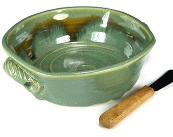 Green Brie Baker, Baked Brie Dish, Pottery brie baker