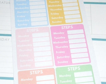 Weekly Step Tracker Stickers-Set of 8 Pastel Edition