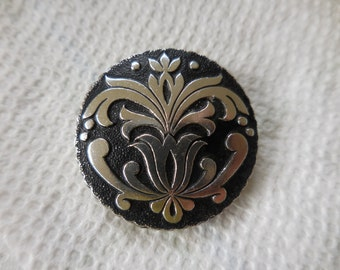 Vintage 1950s to 1960s Silver Tone Scarf Clip Western Germany Round Black Accessory
