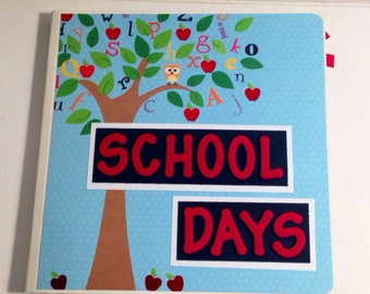 School Days scrapbook Premade Chipboard Board Book  Photo Album Premade Scrapbook- 8 x 8