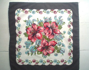 Black and White Hankie with Lily Bouquet Vintage Handkerchief