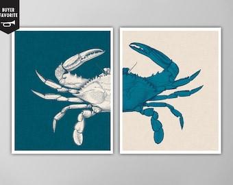 Blue Crab Print Set, Blue Crab Nautical Art Prints, Nautical Art, Blue Crab Art Print, Nautical Art Blue Crab, Linen Textured Two Print Set
