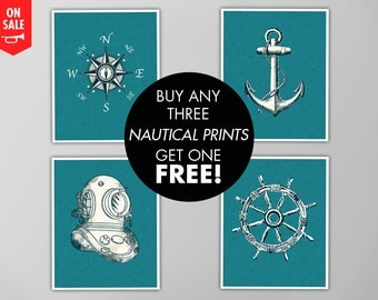 Nautical Print Set, Buy 4 Get One FREE, 4-Piece Print Set, Nautical Art Prints, Nautical Print BOGO Sale, Nautical Art, Bathroom Art Prints
