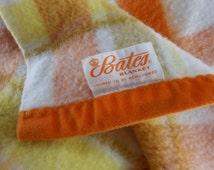 Vtg BATES Acrylic Blanket Orange Yellow Plaid