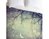Duvet Cover Home Decor. Blue Home Decor. Starry Night Sky Art. Girly Home Decor. Dorm College Decor. Stars Moon Sky. Silver. Bedroom.