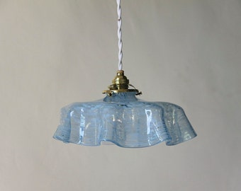 French Antique Glass Ceiling Light Blue Marbled Glass 1930s