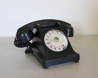 Beautiful French Vintage Black Rotary Telephone Bakelite  Paris Apartment Mother in Law Listener
