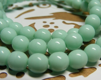 Turquoise Green Czech Glass Beads . 6mm Round Druk  30 each (bk 0404)