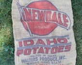 Vintage BURLAP Sack NEWDALE IDAHO potatoes / Bright Color and Graphics / 18 by 30 inches long