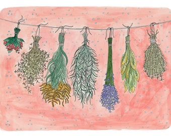 Hanging herbs and flowers print